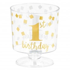 Girl's 1st Birthday Hot-Stamped Tiny Pedestal Plastic Cups Pack of 30