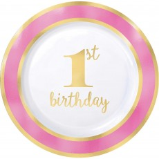 Round Pink Girl's 1st Birthday Hot Stamped Banquet Plates 26cm Pack of 10