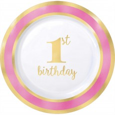 Round Pink Girl's 1st Birthday Hot Stamped Lunch Plates 19cm Pack of 10
