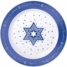 Round Foil Hot Stamped Plastic Happy Hanukkah Lunch Plates Pack of 20