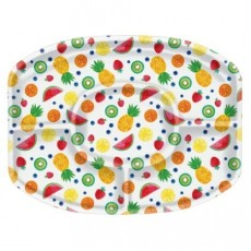 Hawaiian Luau Fruit Design Sectional Platter