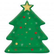 Christmas Tree Shaped Foil Dinner Plates