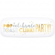 New Year Pop Celebrate Toast Clink Platter 16cm x 44cm