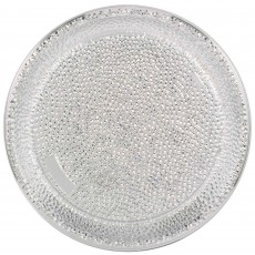 Red Party Supplies - Tray Premium Hammered Look Silver