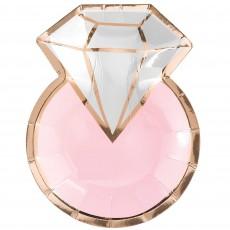 Bridal Shower Blush Wedding Metallic Diamond Ring Shaped Lunch Plates 17cm Pack of 8