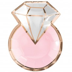 Bridal Shower Blush Wedding Metallic Diamond Ring Shaped Lunch Plates