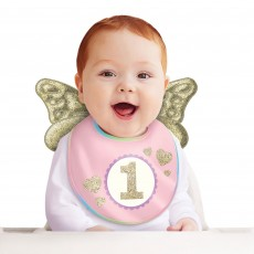 Girl's 1st Birthday Party Supplies - Bib with Wings