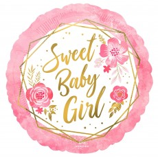 Baby Shower Party Decorations - Foil Balloon Floral Geo Standard HX Sweet Baby Girl