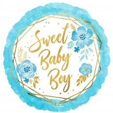 Baby Shower Party Decorations - Foil Balloon Floral Geo Standard HX Sweet Baby Boy