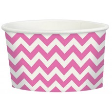 Bright Pink Chevron Design Treat Paper Cups 280ml Pack of 20