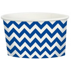 Bright Royal Blue Chevron Design Treat Paper Cups 280ml Pack of 20