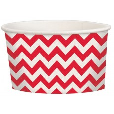 Apple Red Chevron Design Treat Paper Cups 280ml Pack of 20