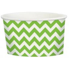 Kiwi Green Chevron Design Treat Paper Cups 280ml Pack of 20