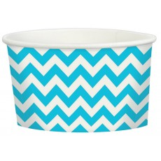 Caribbean Blue Chevron Design Treat Paper Cups 280ml Pack of 20