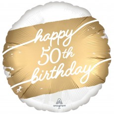 50th Birthday Party Decorations - Foil Balloon Golden Age Standard HX