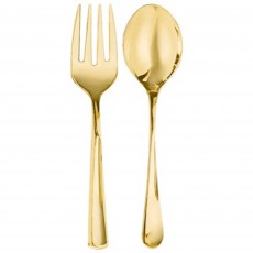 Gold Party Supplies - Premium Serving Spoon & Fork