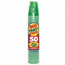 Festive Green Big Party Plastic Cups 473ml Pack of 50
