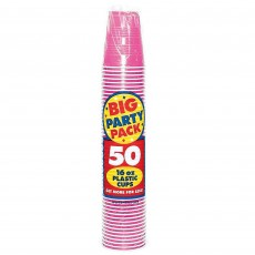 Bright Pink Big Party Plastic Cups 473ml Pack of 50