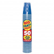 Bright Royal Blue Big Party Plastic Cups 473ml Pack of 50