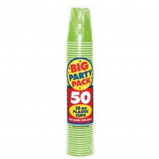Kiwi Green Big Party Plastic Cups 473ml Pack of 50