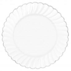 Silver White with  Trim Premium Scalloped Dinner Plates