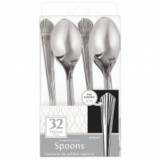 Silver Fan Handled Premium Spoons Pack of 32