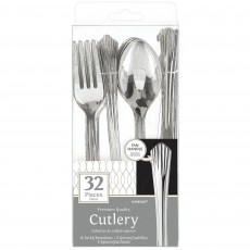 Silver Fan Handled Premium Cutlery Sets Pack of 32