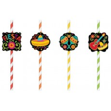 Mexican Fiesta Straws 22.8cm Pack of 12