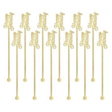 Happy Birthday Gold Plastic Drink Stirrers