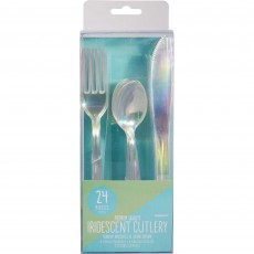 Iridescent Shimmering Party Cutlery Sets Pack of 24