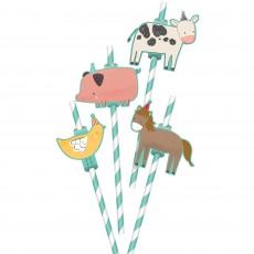 Barnyard Animals Add-On Straws 22cm Pack of 12