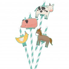 Barnyard Animals Add-On Straws