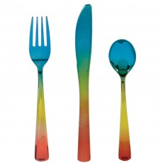 Iridescent Rainbow Confetti Plastic Cutlery Sets