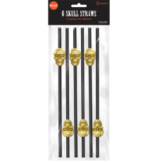 Halloween Black with Gold Skull Straws