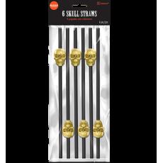 Halloween Gold Skull on Black Straws