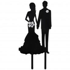 Wedding Couple Silhouette Cake Topper 17cm x 7cm