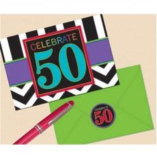 50th Birthday Chevron Celebration Invitations