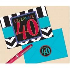 40th Birthday Chevron Celebration Invitations