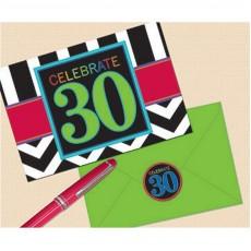 30th Birthday Chevron Celebration Postcard Invitations