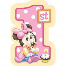 Minnie Mouse 1st Birthday Postcard Invitations