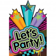 Totally 80's Postcard Let's Party! Invitations Pack of 8