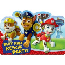 Paw Patrol Postcard Invitations For 8 Guests Pack of 8