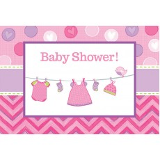 Shower with Love Girl Postcard Invitations 11cm Pack of 8
