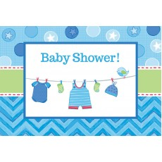 Shower with Love Boy Postcard Invitations 11cm Pack of 8