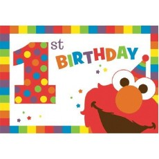Elmo Turns One Postcard Invitations