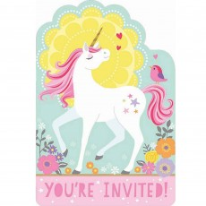 Magical Unicorn Postcard Invitations Pack of 8