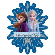 Disney Frozen 2 Jumbo Glittered Deluxe Invitations 19cm x 4cm Pack of 8