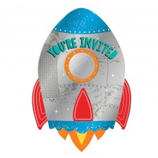 Blast Off Metallic Postcard Invitations