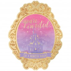 Disney Princess Once Upon A Time Deluxe Glittered Invitations 18cm x 14cm Pack of 8