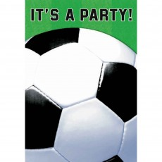 Soccer Fan Folded Invitations 15cm Pack of 8